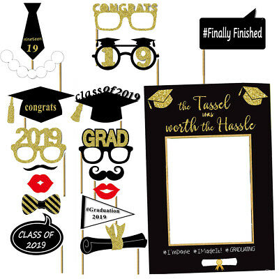 Photo Booth Props For Graduation (1 Set of Graduation Photo Booth Props Kit Party Favor for 2019 Graduation)