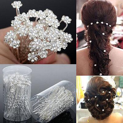 40 PCS Wedding Hair Pins Crystal Pearl Flower Bridal Hairpin