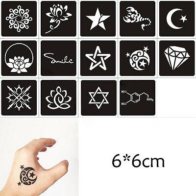 1Sheet Black Flower Style Henna Stencil Body Temporary Tattoo Sticker Paper $T