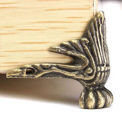 4x Antique Brass Jewelry Gift Box Wood Decorative Feet Leg Corner Protector LY