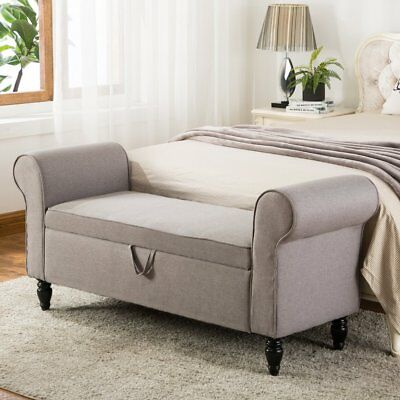 Modern Fabric Storage Ottoman Bench Upholstered Footstool with Arms Bedroom Gray