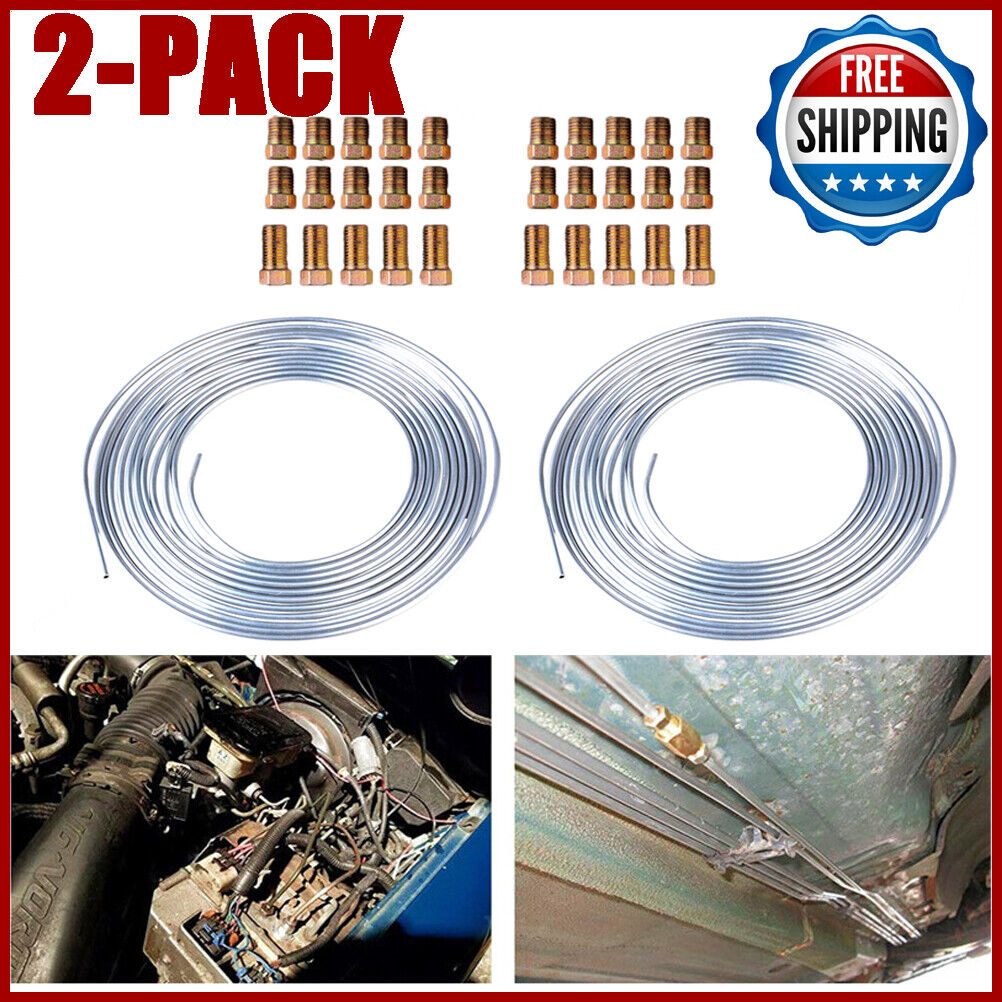 """2x Zinc Steel Brake Line Tubing Kit 3//16 /"""" 25 Ft Coil Roll with 30Pcs Fittings"""