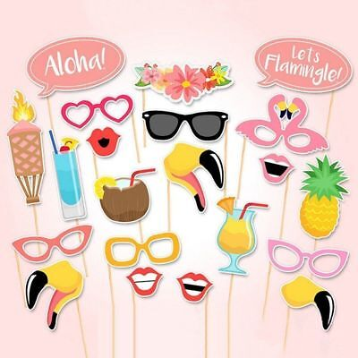 21pcs Flamingo Hawaii Themed Summer Party Photo Booth Props Kit