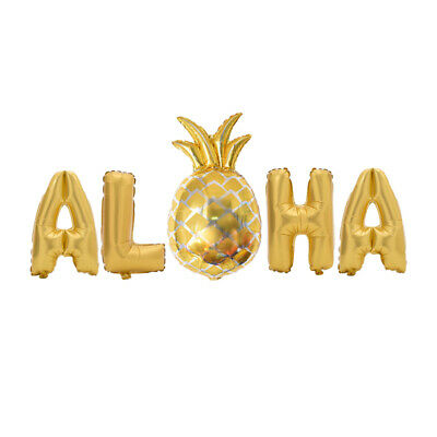5pcs Metallic 16Inch Mylar Foil ALOHA Balloons Decorations for Party - Hawaiian Balloon Decorations