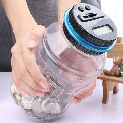 Coin Auto Counting MONEY JAR Cup Digital LCD Automatic Counter Piggy Bank Change