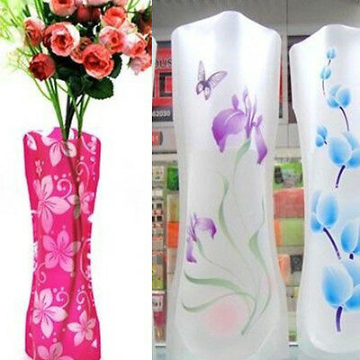 2X Foldable Plastic Unbreakable Reusable Flower Home Decors Vase Color Random CH