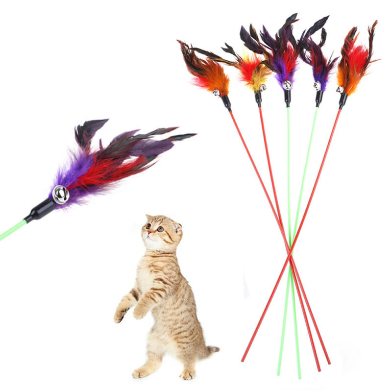 5pcs Cat Play Feather Teaser Small Bell Type Cat Toy Ultra long Rod Pets Toys OB