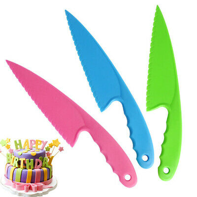 Plastic Cake Knife Serving Tool Measure Cutting Tools Slicer Kids Birthday ^P