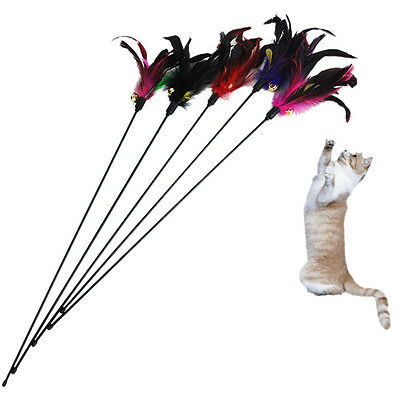Fun Kitten Toy Cat Feather Bell Wand Teaser  Rod Bead Play P