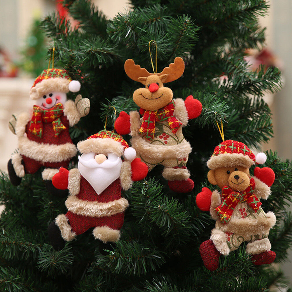 Details About Christmas Ornaments Santa Claus Snowman Reindeer Toy Doll Hang Decorations Gift