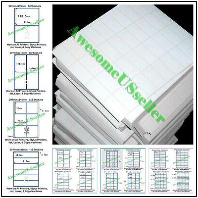 New Self Adhesive A4 White Pre-cut Sticker Matt Paper Label Laser Inkjet Printer
