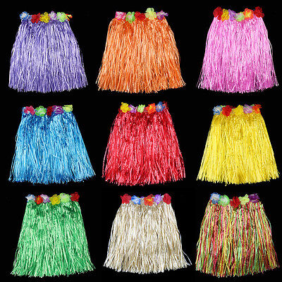 Hawaiian Costume Tropical Dress Hula Luau Leis Skirt Grass Party Dress 40cm lj  - Lei Costume