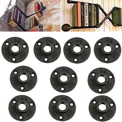 10x 1malleable Threaded Floor Flange Iron Pipe Fittings Wall Mount Black Access