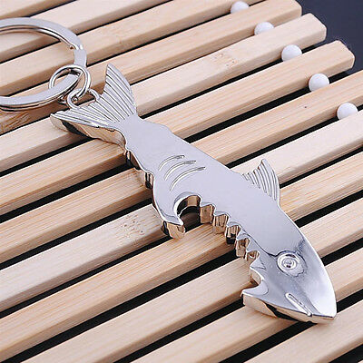 Creative Shark Keychain Bottle Opener Metal Key Ring Beer Cap Lifter Modern H SH