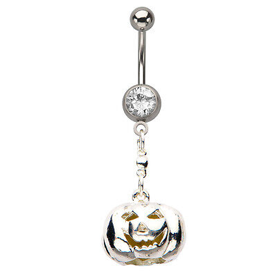 Navel Barbell With Pumpkin Face Halloween Navel Ring Steampunk Body Jewelry](Halloween Belly Button Rings)