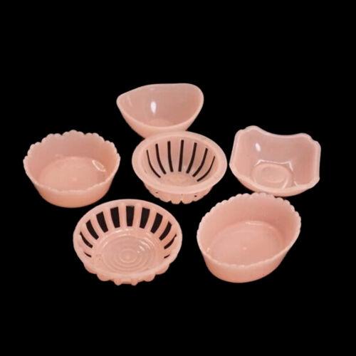 1Set 1/12 Dollhouse Miniature Plastic Dishes Plates Tableware Decorator Pink uy