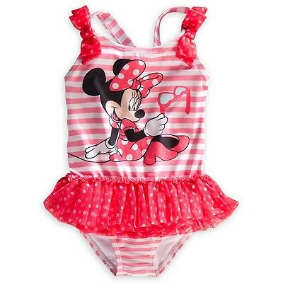 Disney Store Minnie Mouse 1 Pc Deluxe Tutu Swimsuit Girl Size 7 8