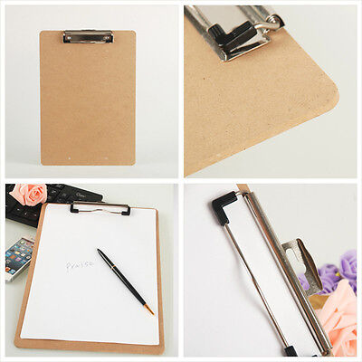 Wooden A5 File Paper Clip Wood Writing Board Metal Clip Document Clipboard Twk