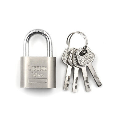 Metal 30mm 3Key High Security Solid Lock Door Gate Jewlery Box Safety Padlock CZ