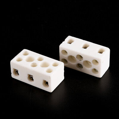 Ceramic Terminal Block (2Pcs 8 Hole 2W8H High Temperature Resistant Ceramic Terminal Block 15A 250V LD)