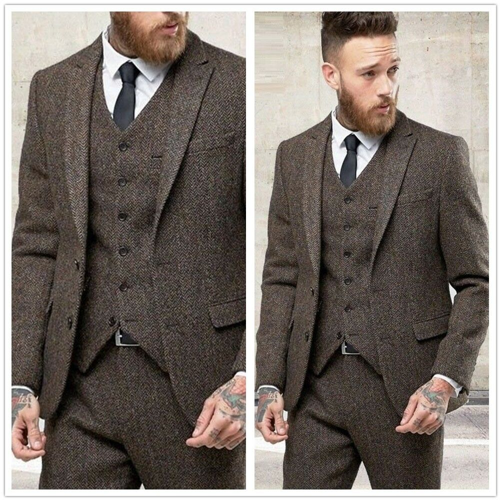Dark Brown Men S Suits Wool Tweed 3pcs Herringbone Tuxedos Slim Fit Custom New Ebay