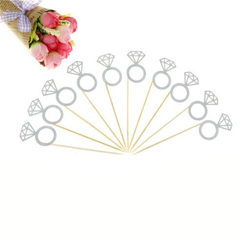 10pcs Glitter Diamond Ring Cupcake Cake Toppers Wedding Cake SP