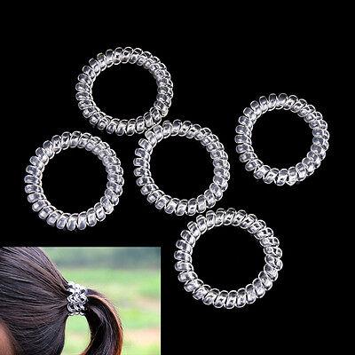 5pcs Ladies Clear Elastic Rubber Hair Ties Spiral Slinky Rubber Rope Hairband NJ - Slinky Hair Ties
