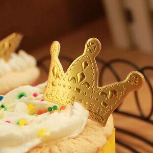 50pcs Gold Crown Cupcake Toppers,Wedding Picks,Party Picks,Food Pick 4*2.5cm JH