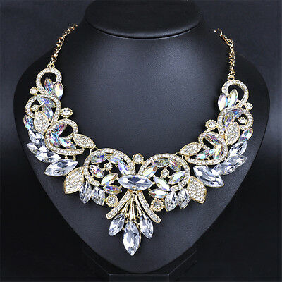 Chic Rhinestone Crystal Chunky Statement Bib Pendant Chain Choker Necklace BH