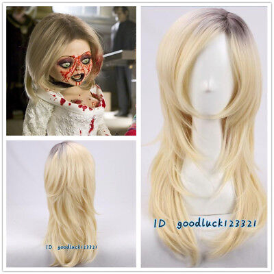 Bride of Chucky cosplay Wig Dark Root with Golden Blonde Layered Halloween - Chucky Cosplay