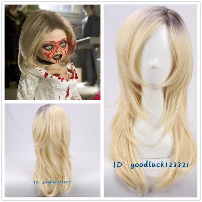 Bride of Chucky cosplay Wig Dark Root with Golden Blonde Layered Halloween wig