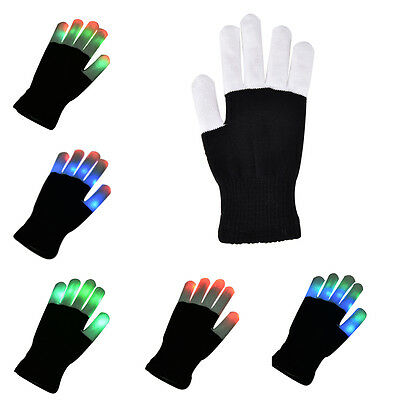 Cool LED Rave Flashing Gloves Glow 7 Mode Light Up Finger Lighting Black TEUS