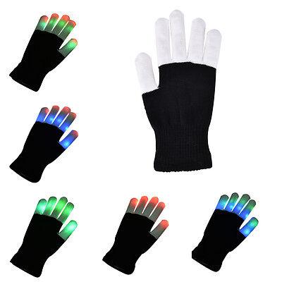 Cool LED Rave Flashing Gloves Glow 7 Mode Light Up Finger Lighting Black Fashion