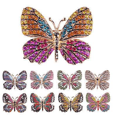 (Rhinestone Butterfly Brooch Pin Gold Women Dress Wedding Bridal Brooch Pin JP)