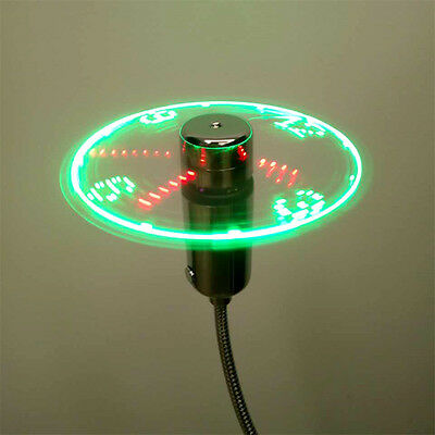 USB Mini Flexible Time LED Clock Fan with LED Light Gadgets Cool Fan New Zhd