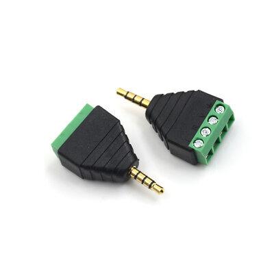 Av 3.5mm 4 Pin Male To Av Screw Terminal Stereo Jack Block Plug Connector Fj