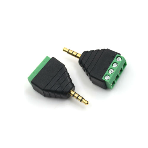 Video AV 3.5mm 4 Pin Male to AV Screw Terminal Stereo Jack Block Plug Connec Bs