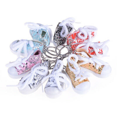 1pc Mini Colourful Sequin Tennis Sports Shoe Keychain Keyring Doll Funny Gift ZN