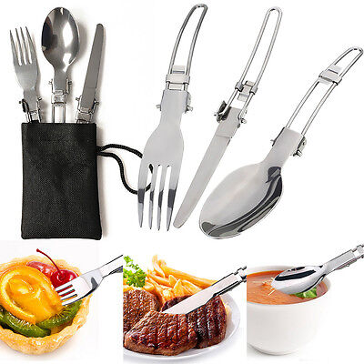3X Camping Hiking Picnic Folding Cutlery Set Knife Fork Spoon Utensil +Bag XZ