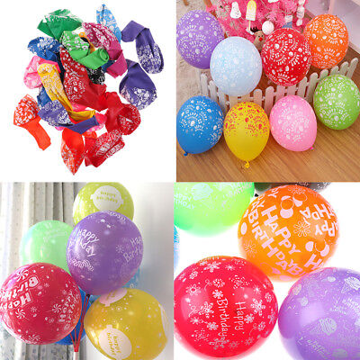 12 inches Quality Latex Balloons With Printed Happy Birthday Party 10 Pcs XR