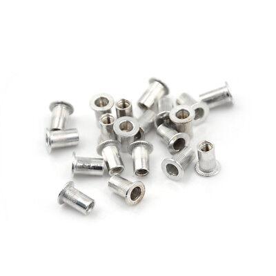20pcs Aluminum Alloy Flat Head Threaded Rivet Insert Nutsert Cap Rivet Nut G Vv