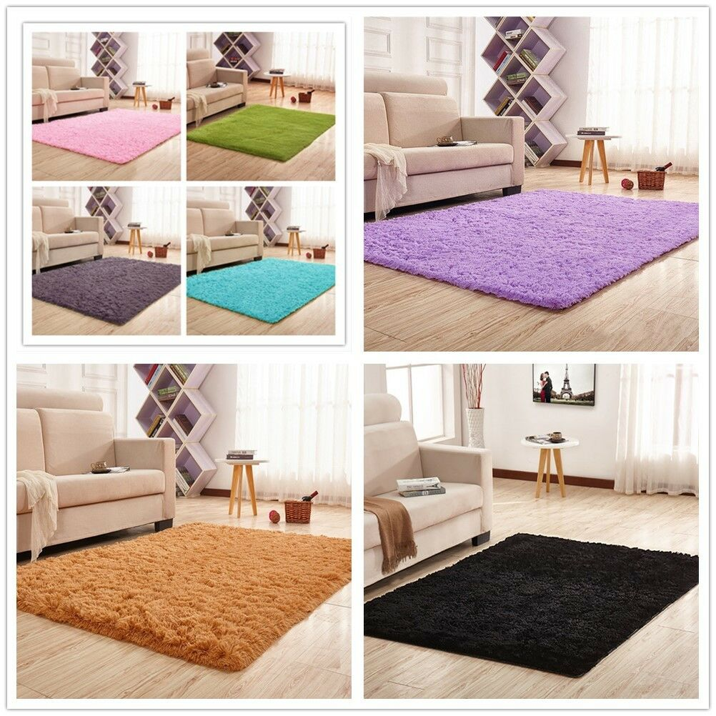 US Stock Ultra Soft Fluffy Area Rugs Round Mat Home Shag Car