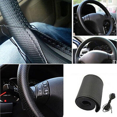 New Car Truck Leather Steering Wheel Cover With Needles and Thread Black DIY LAU