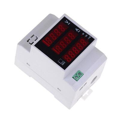 Lab Din Rail Led Ac Voltmeter Ammeter Volt Amp Meter Gauge 80-300v 0-100 Uw