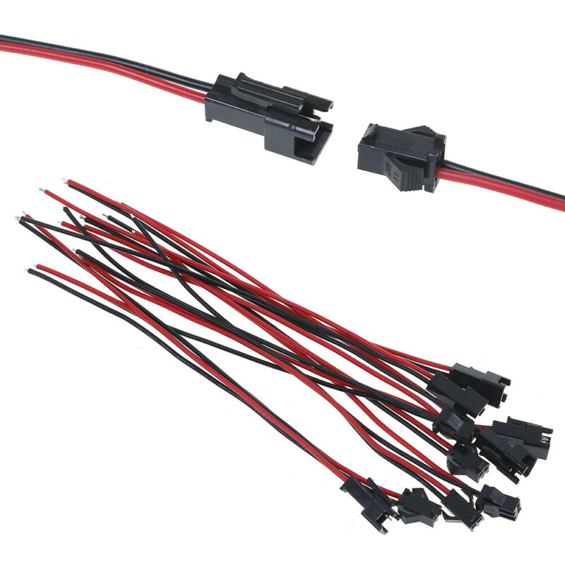 ✔️ 15cm 10Pcs long JST SM 2pins plug male to female wire connector ? купить