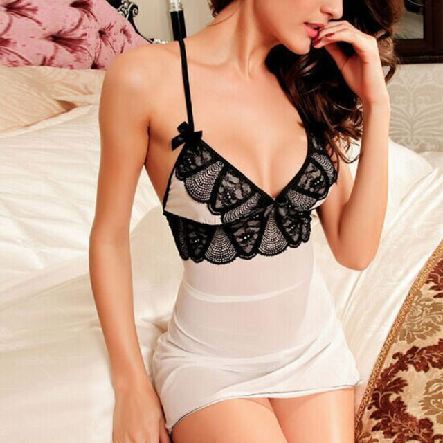 Lingerie Women Lace Robe Dress Babydoll Nightdress Nightgown Sleepwear 88