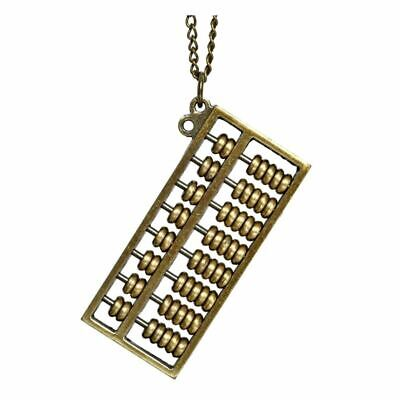Antique Brass Abacus Pendant Necklace - Joe Cool Mathematics Vintage Retro