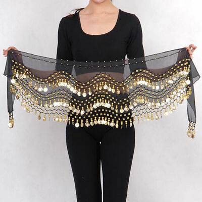 US 3 Rows Belly Dance Hip Skirt Scarf Wrap Belt with Gold Coins - Dance Scarves