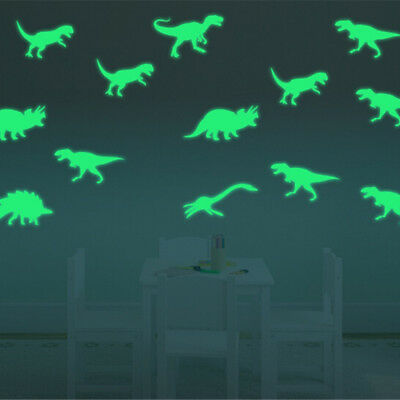 9x Glow in the Dark Luminous Dinosaurs Stickers Kids Room Wall Art Decoration_c - Dinosaur Stickers