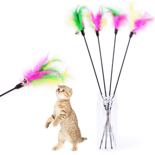Pet cat toy cute bird feather teaser wand plastic toy with bell for cats AL